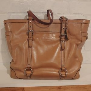 Coach Large Tan Brown Leather Carryall Tote